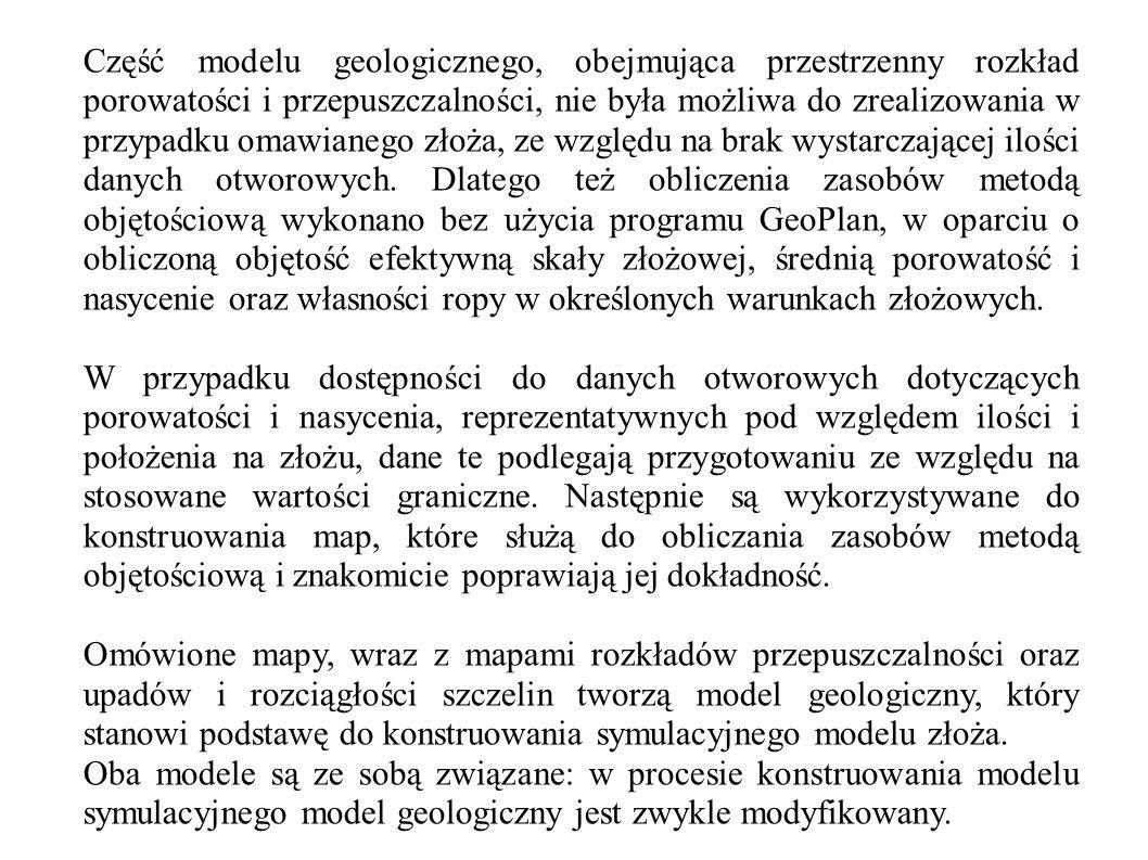 Część modelu geologicznego, obejmująca przestrzenny rozkład porowatości i przepuszczalności, nie była możliwa do zrealizowania w przypadku omawianego