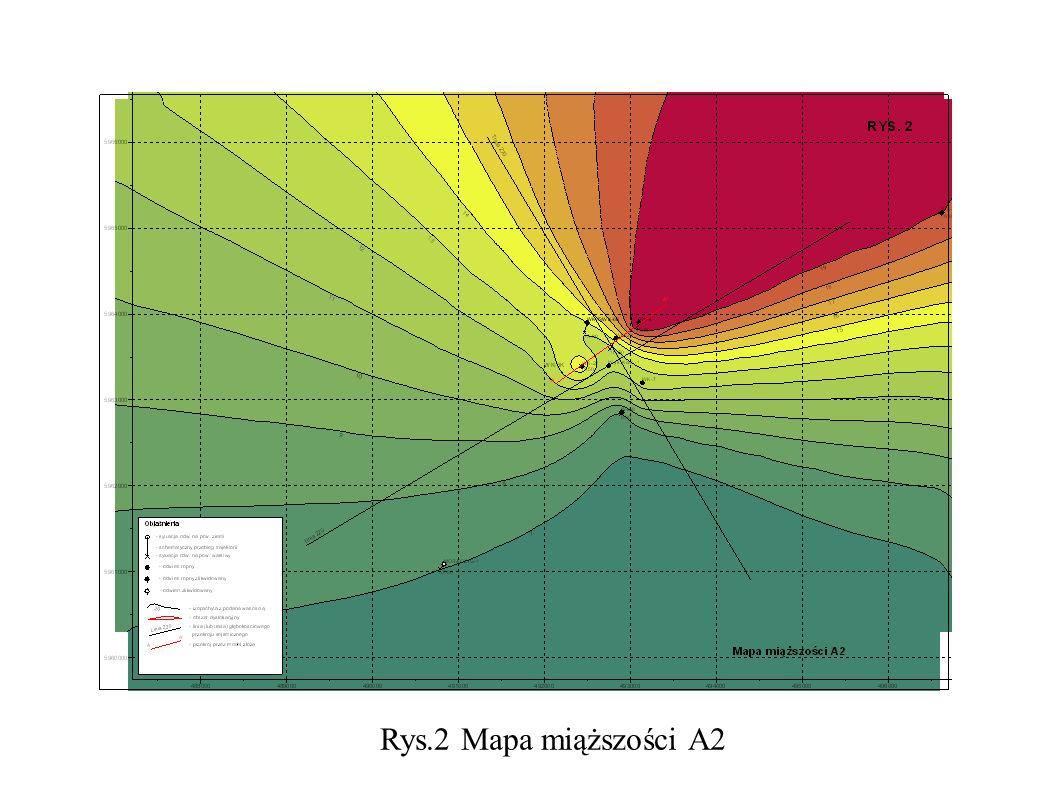 Rys.2 Mapa miąższości A2