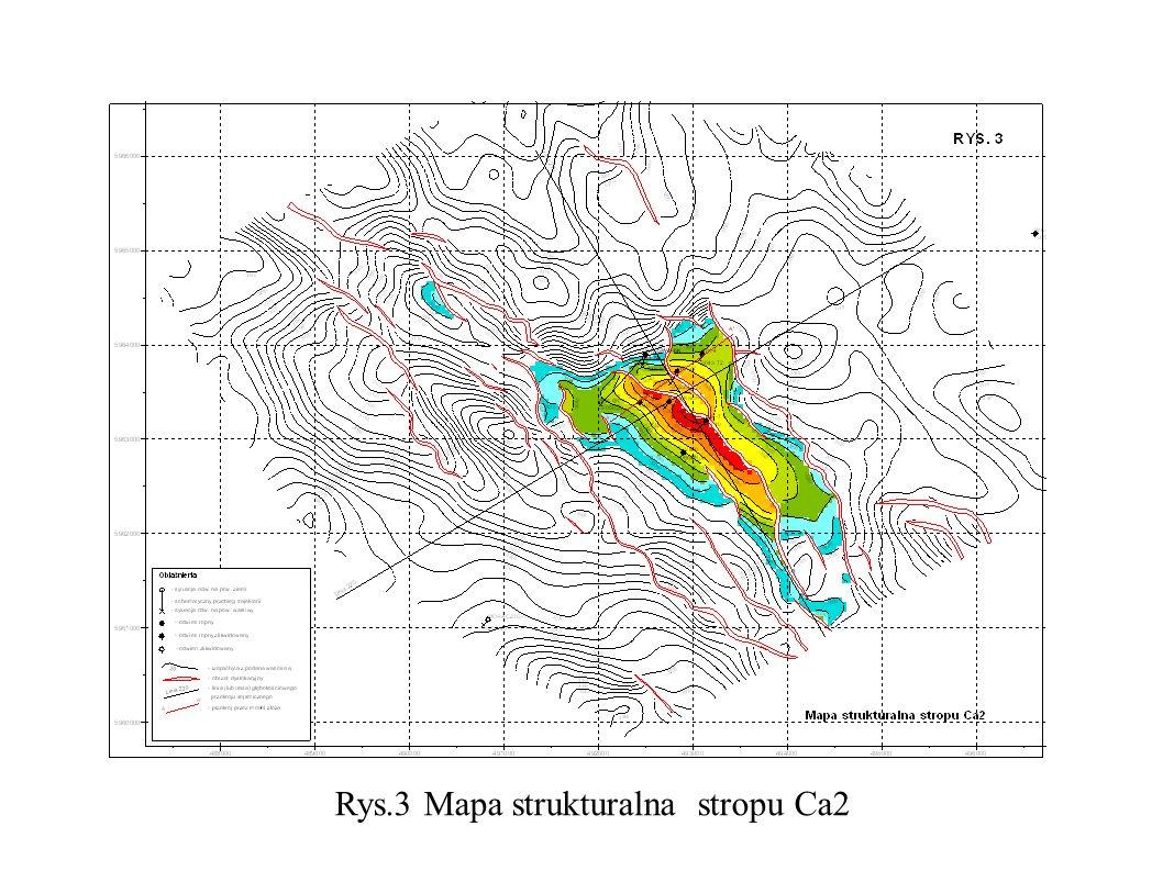 Rys.3 Mapa strukturalna stropu Ca2