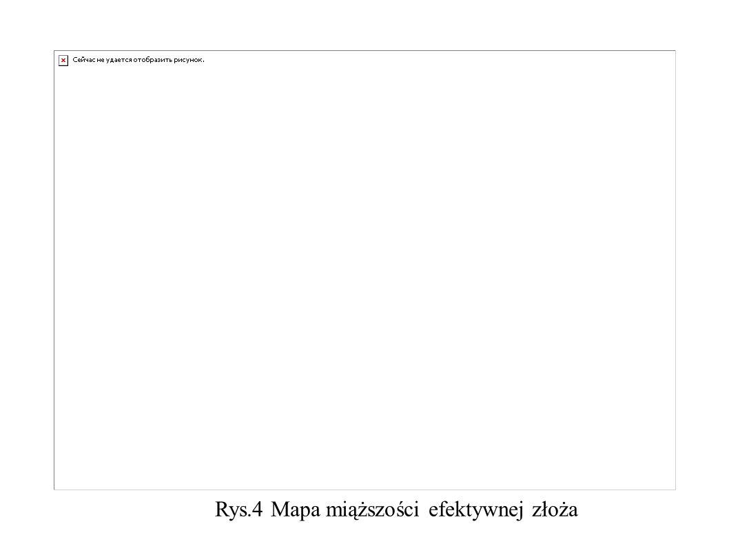 Rys.4 Mapa miąższości efektywnej złoża