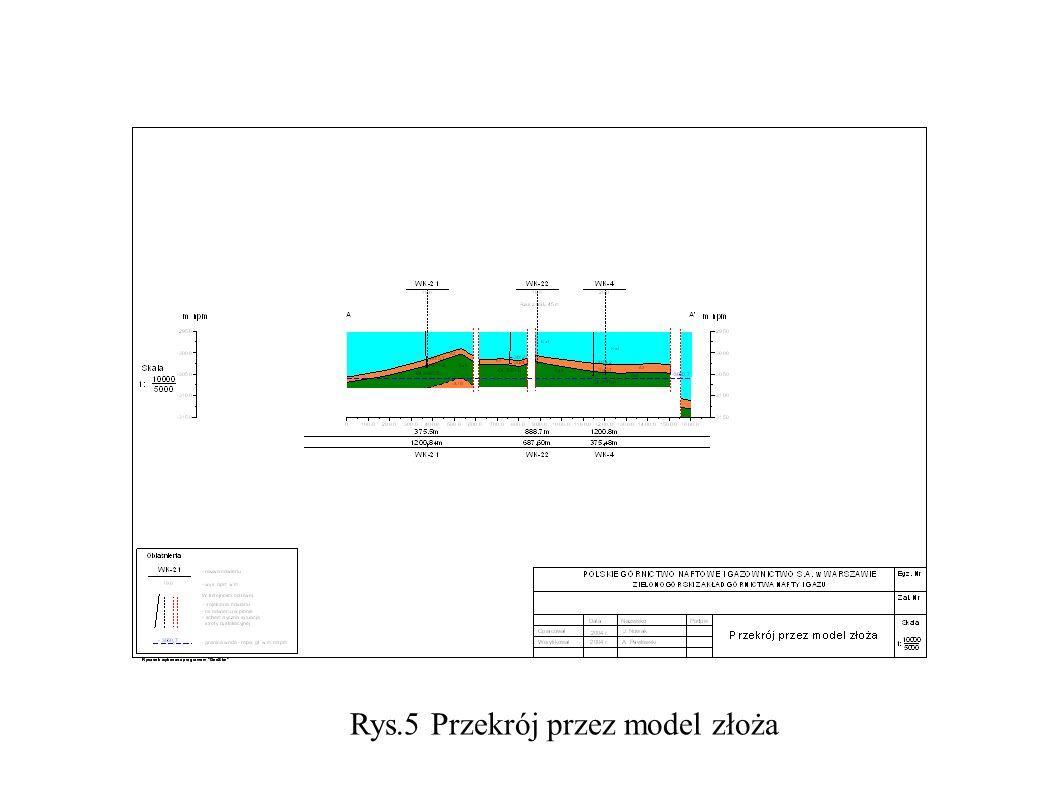 Rys.5 Przekrój przez model złoża