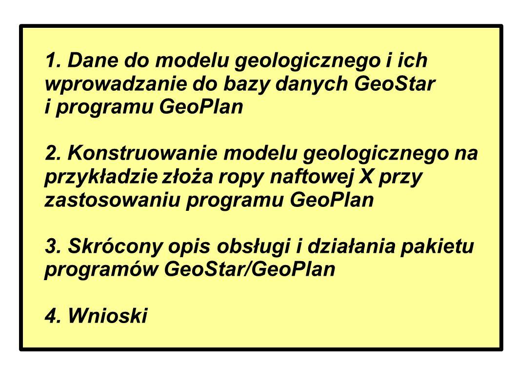 1. Dane do modelu geologicznego i ich wprowadzanie do bazy danych GeoStar i programu GeoPlan 2. Konstruowanie modelu geologicznego na przykładzie złoż
