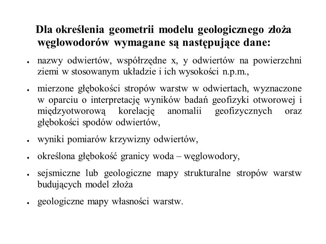 Dla umożliwienia obliczenia zasobów metodą objętościową powinny być dostępne następujące dane (w odniesieniu do poszczególnych otworów i warstw), możliwe do uzyskania w wyniku badań laboratoryjnych i geofizyki otworowej: ● porowatość (w tym szczelinowatość), ● nasycenie wodą, W przypadku, jeżeli model geologiczny ma stanowić podstawę do opracowania modelu symulacyjnego, powinny być dodatkowo uwzględnione następujące dane: ● przepuszczalność absolutna w kierunku równoległym i prostopadłym do uwarstwienia, ● upady i rozciągłości szczelin,