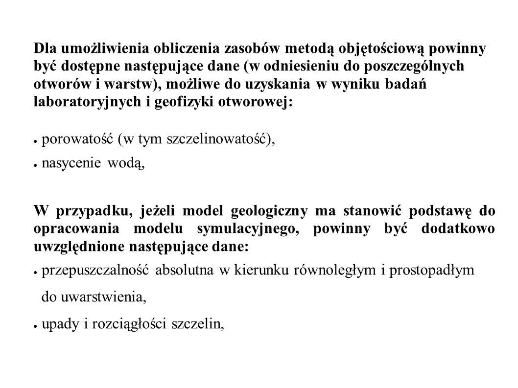 Dla umożliwienia obliczenia zasobów metodą objętościową powinny być dostępne następujące dane (w odniesieniu do poszczególnych otworów i warstw), możl
