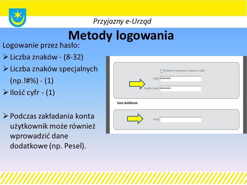 Metody logowania Logowanie przez hasło:  Liczba znaków - (8-32)  Liczba znaków specjalnych (np.!#%) - (1)  Ilość cyfr - (1)  Podczas zakładania konta użytkownik może również wprowadzić dane dodatkowe (np.
