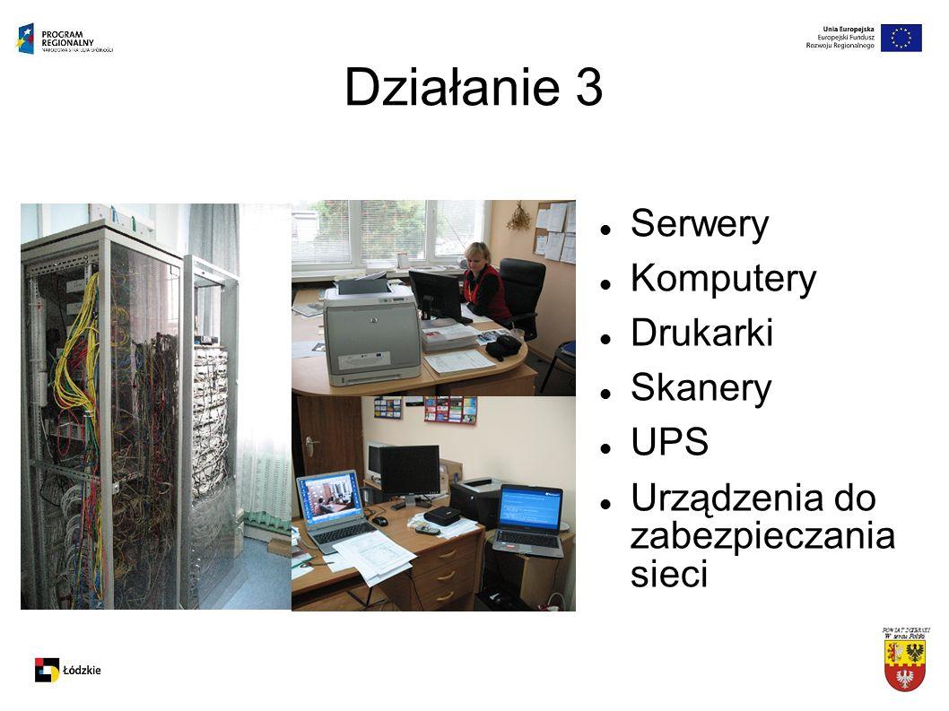Działanie 3 Serwery Komputery Drukarki Skanery UPS Urządzenia do zabezpieczania sieci