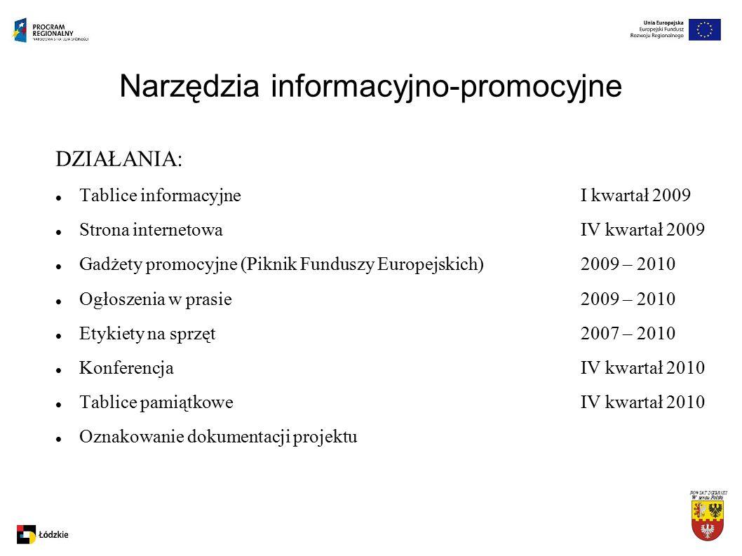 Narzędzia informacyjno-promocyjne DZIAŁANIA: Tablice informacyjneI kwartał 2009 Strona internetowaIV kwartał 2009 Gadżety promocyjne (Piknik Funduszy Europejskich)2009 – 2010 Ogłoszenia w prasie2009 – 2010 Etykiety na sprzęt2007 – 2010 Konferencja IV kwartał 2010 Tablice pamiątkoweIV kwartał 2010 Oznakowanie dokumentacji projektu