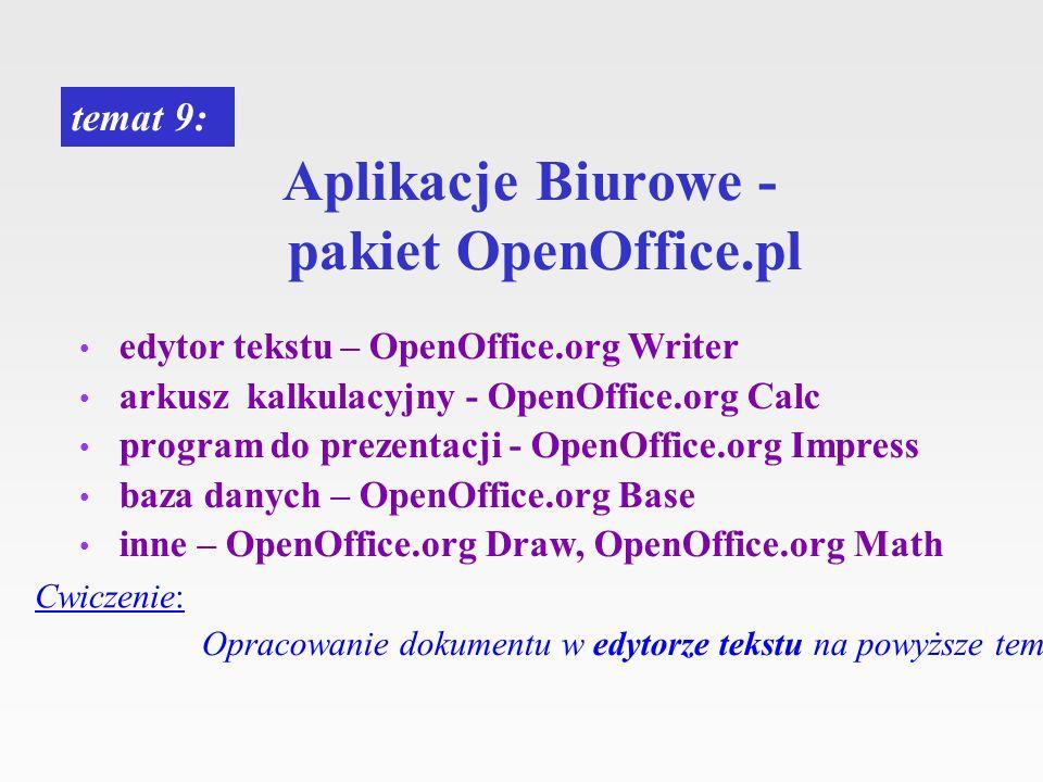 Aplikacje Biurowe - pakiet OpenOffice.pl edytor tekstu – OpenOffice.org Writer arkusz kalkulacyjny - OpenOffice.org Calc program do prezentacji - Open