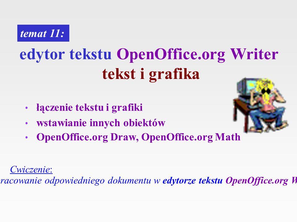 edytor tekstu OpenOffice.org Writer tekst i grafika łączenie tekstu i grafiki wstawianie innych obiektów OpenOffice.org Draw, OpenOffice.org Math tema