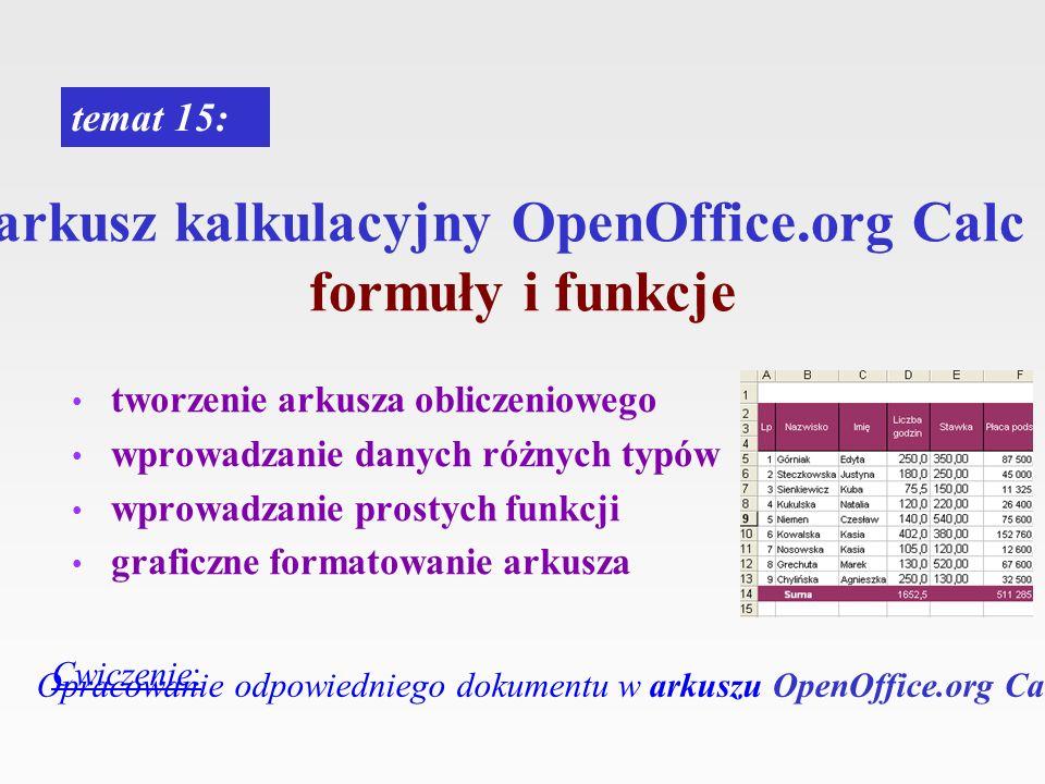 arkusz kalkulacyjny OpenOffice.org Calc formuły i funkcje tworzenie arkusza obliczeniowego wprowadzanie danych różnych typów wprowadzanie prostych fun