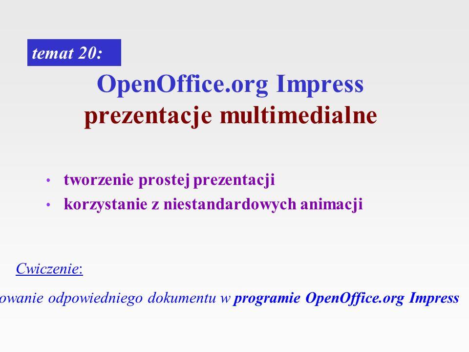 OpenOffice.org Impress prezentacje multimedialne temat 20: Cwiczenie: Opracowanie odpowiedniego dokumentu w programie OpenOffice.org Impress tworzenie
