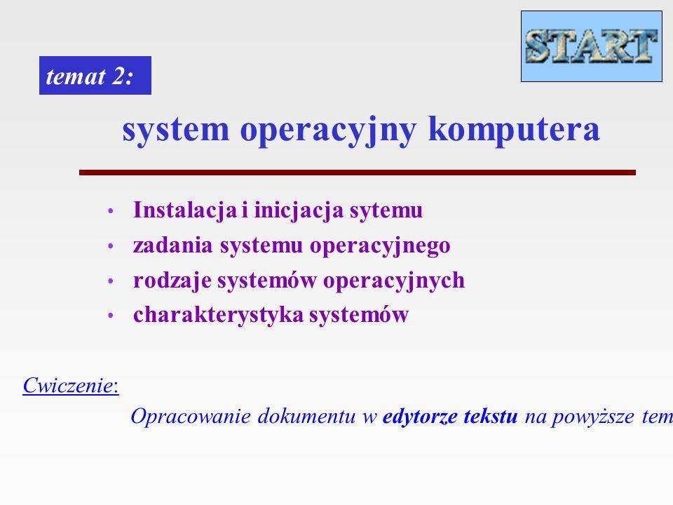 system operacyjny komputera Instalacja i inicjacja sytemu zadania systemu operacyjnego rodzaje systemów operacyjnych charakterystyka systemów temat 2: