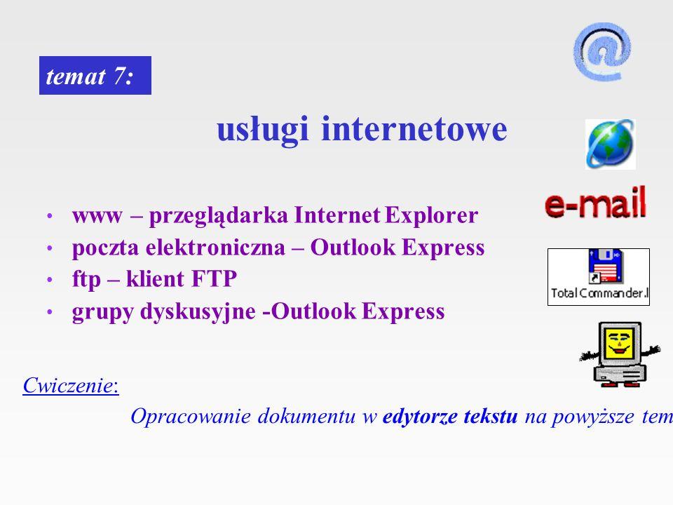 usługi internetowe www – przeglądarka Internet Explorer poczta elektroniczna – Outlook Express ftp – klient FTP grupy dyskusyjne -Outlook Express tema