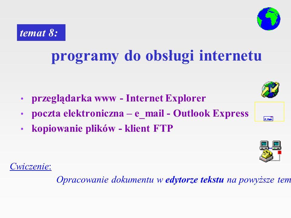 programy do obsługi internetu przeglądarka www - Internet Explorer poczta elektroniczna – e_mail - Outlook Express kopiowanie plików - klient FTP tema