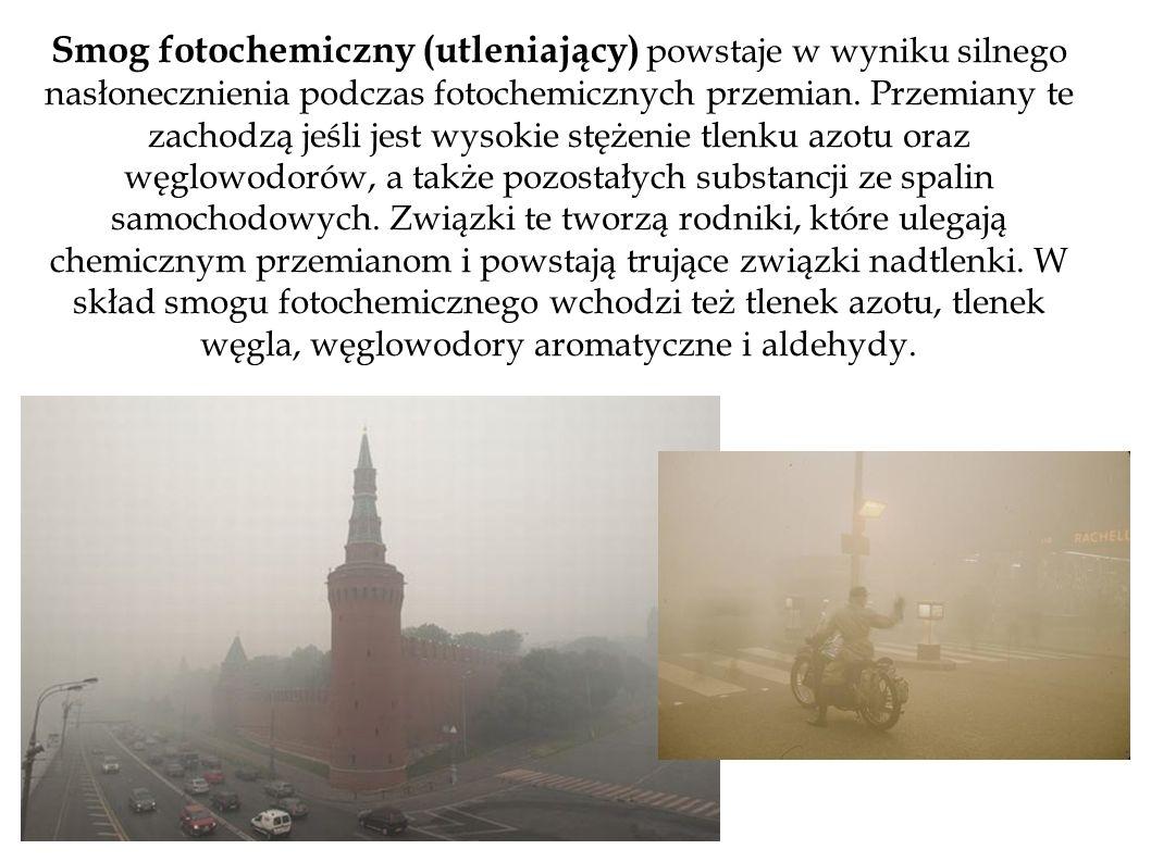 Smog fotochemiczny (utleniający) powstaje w wyniku silnego nasłonecznienia podczas fotochemicznych przemian. Przemiany te zachodzą jeśli jest wysokie