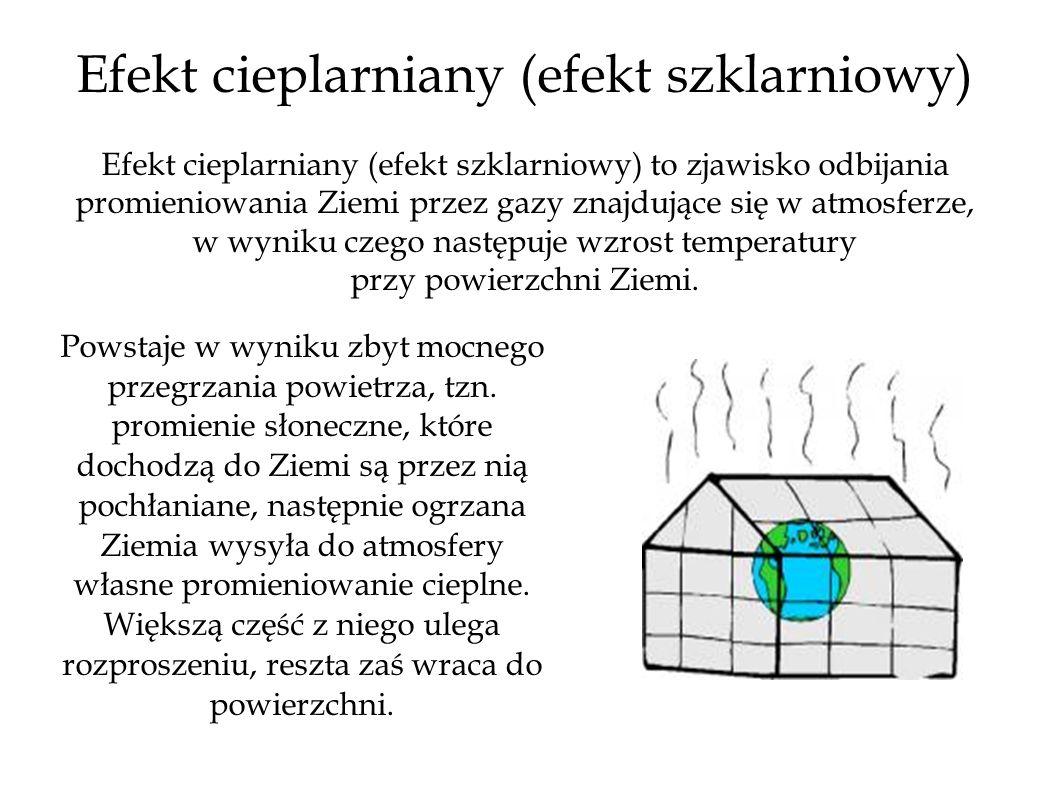 Efekt cieplarniany (efekt szklarniowy) Efekt cieplarniany (efekt szklarniowy) to zjawisko odbijania promieniowania Ziemi przez gazy znajdujące się w atmosferze, w wyniku czego następuje wzrost temperatury przy powierzchni Ziemi.