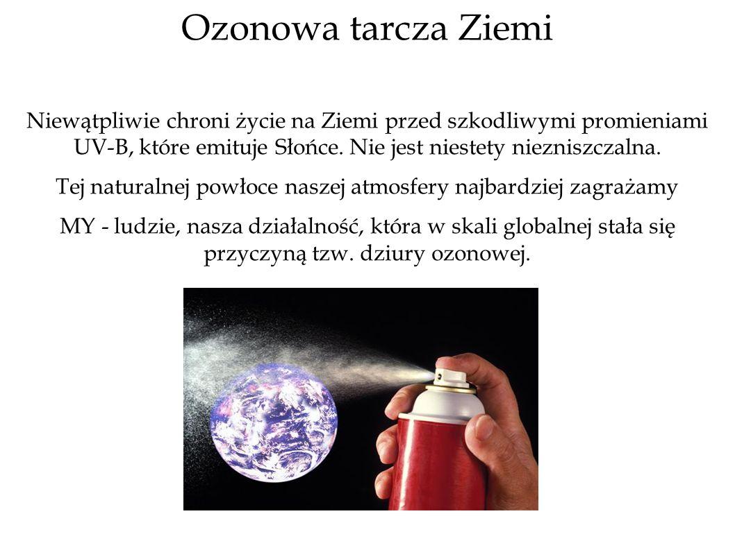 Ozonowa tarcza Ziemi Niewątpliwie chroni życie na Ziemi przed szkodliwymi promieniami UV-B, które emituje Słońce. Nie jest niestety niezniszczalna. Te