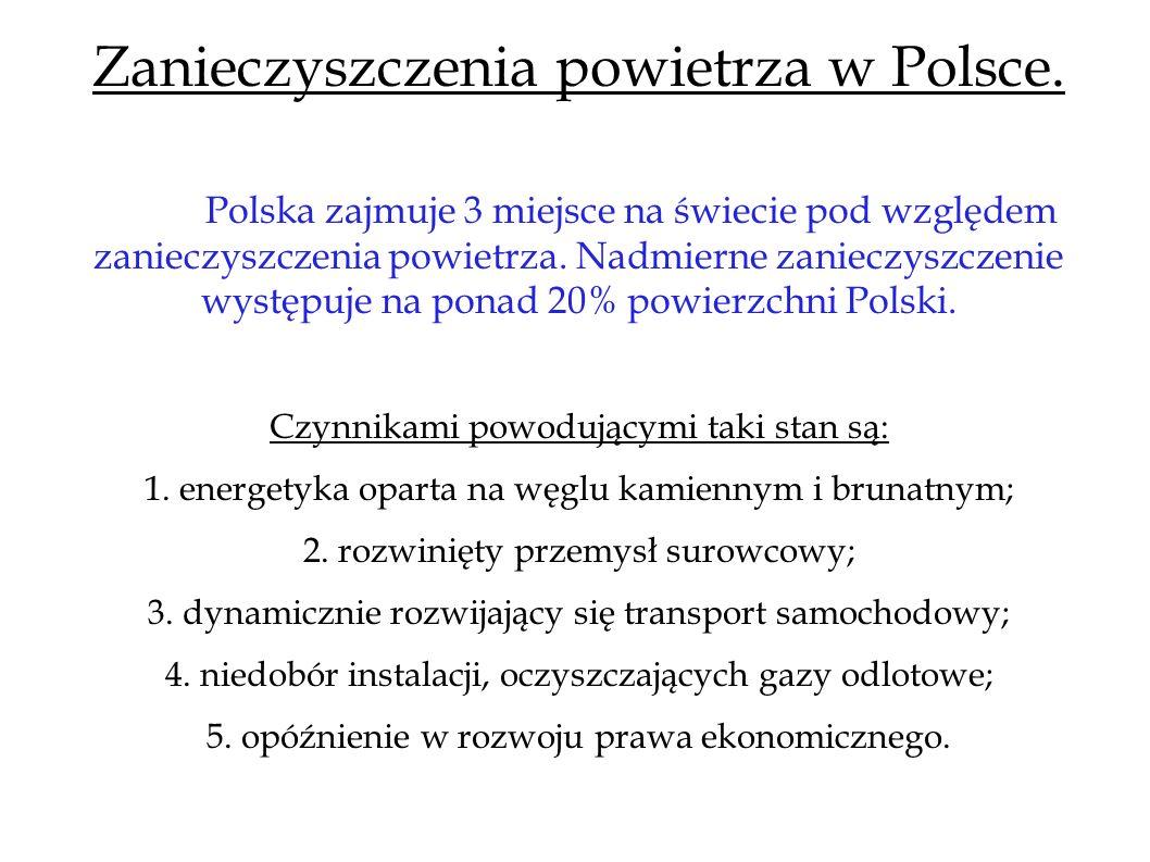 Zanieczyszczenia powietrza w Polsce. Polska zajmuje 3 miejsce na świecie pod względem zanieczyszczenia powietrza. Nadmierne zanieczyszczenie występuje