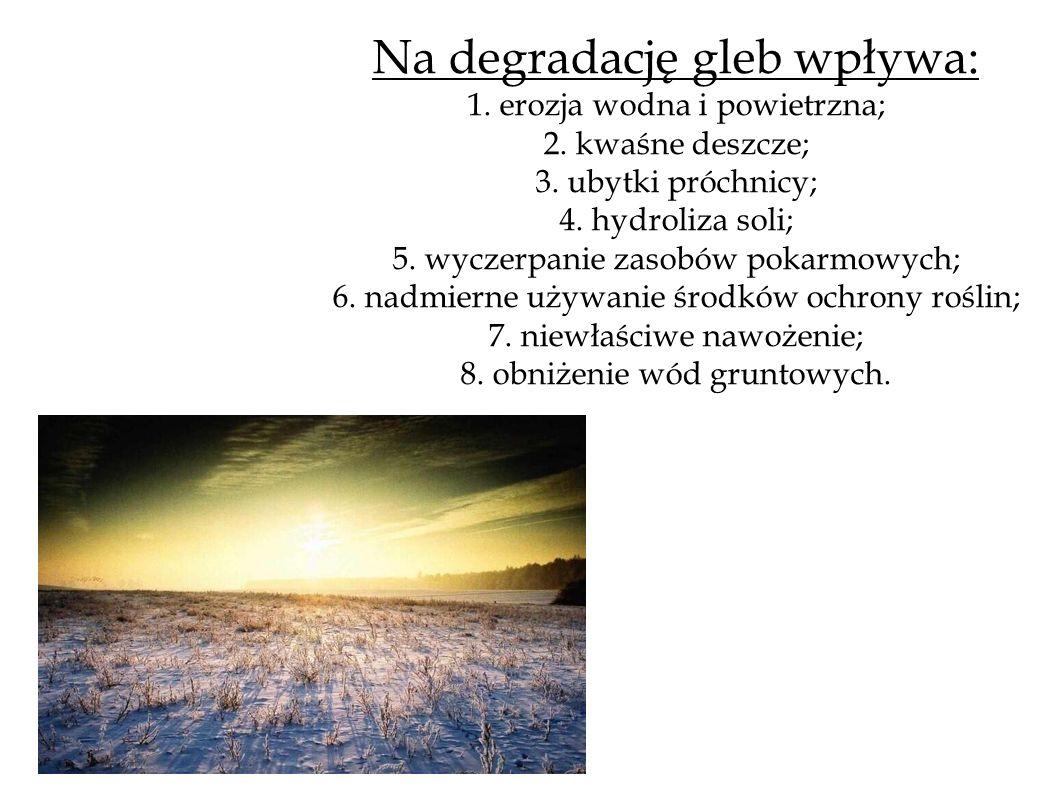 Na degradację gleb wpływa: 1. erozja wodna i powietrzna; 2. kwaśne deszcze; 3. ubytki próchnicy; 4. hydroliza soli; 5. wyczerpanie zasobów pokarmowych