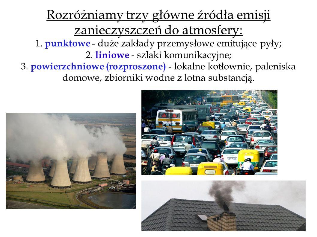 Rozróżniamy trzy główne źródła emisji zanieczyszczeń do atmosfery: 1. punktowe - duże zakłady przemysłowe emitujące pyły; 2. liniowe - szlaki komunika