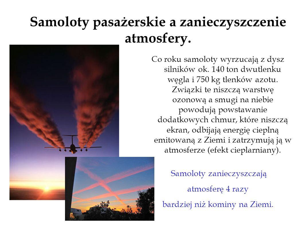 Samoloty pasażerskie a zanieczyszczenie atmosfery. Co roku samoloty wyrzucają z dysz silników ok. 140 ton dwutlenku węgla i 750 kg tlenków azotu. Zwią