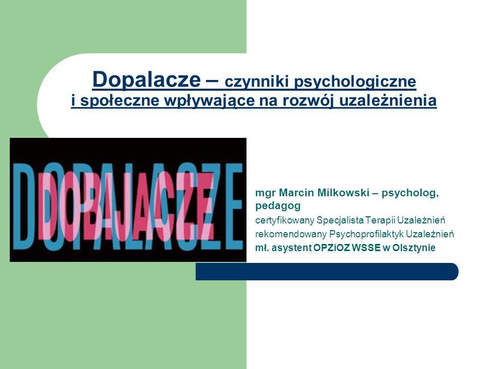 Czynniki psychologiczne - osobowościowe Mała samowiedza i zaniżona samoocena Brak poczucia celu i sensu życia Brak zainteresowań Specyficzne trudności/zaburzenia osobowości, np.