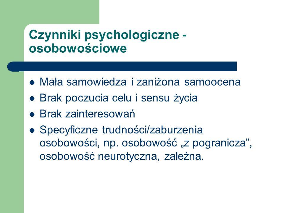 Czynniki psychologiczne - osobowościowe Mała samowiedza i zaniżona samoocena Brak poczucia celu i sensu życia Brak zainteresowań Specyficzne trudności