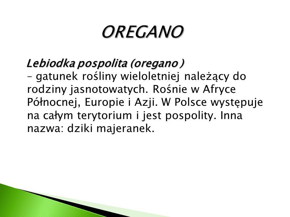 Lebiodka pospolita (oregano ) Lebiodka pospolita (oregano ) – gatunek rośliny wieloletniej należący do rodziny jasnotowatych. Rośnie w Afryce Północne