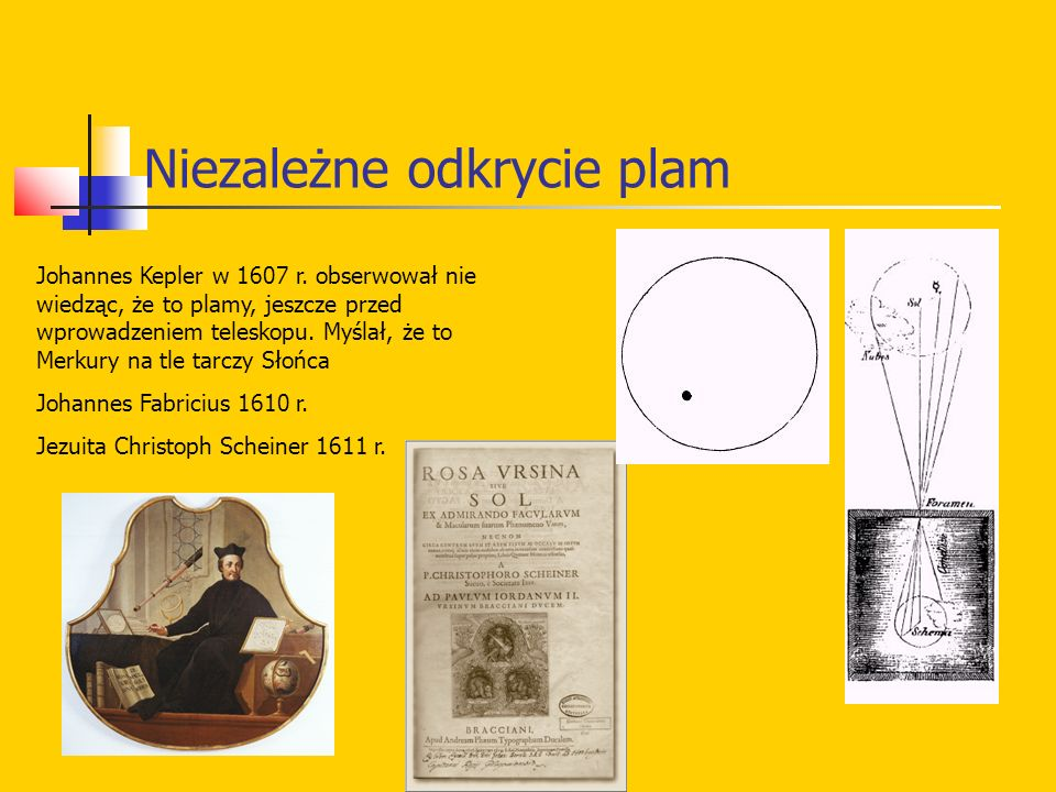 Niezależne odkrycie plam Johannes Kepler w 1607 r. obserwował nie wiedząc, że to plamy, jeszcze przed wprowadzeniem teleskopu. Myślał, że to Merkury n