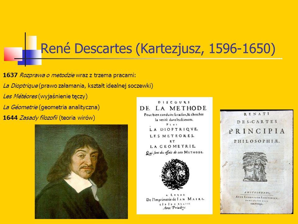 René Descartes (Kartezjusz, 1596-1650) 1637 Rozprawa o metodzie wraz z trzema pracami: La Dioptrique (prawo załamania, kształt idealnej soczewki) Les Météores (wyjaśnienie tęczy) La Géometrie (geometria analityczna) 1644 Zasady filozofii (teoria wirów)