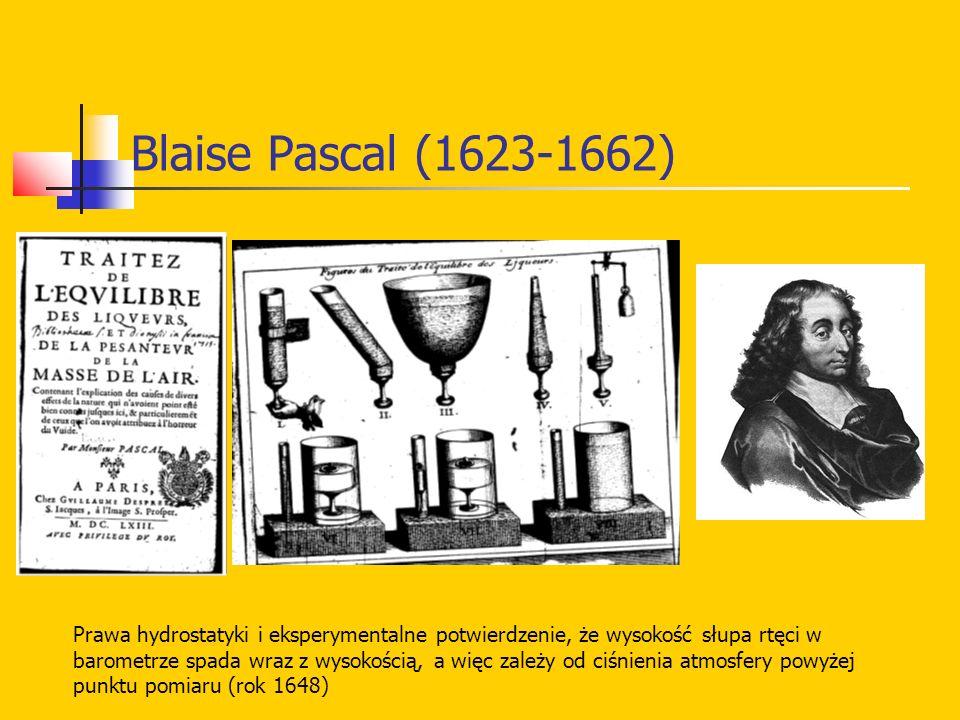 Blaise Pascal (1623-1662) Prawa hydrostatyki i eksperymentalne potwierdzenie, że wysokość słupa rtęci w barometrze spada wraz z wysokością, a więc zależy od ciśnienia atmosfery powyżej punktu pomiaru (rok 1648)