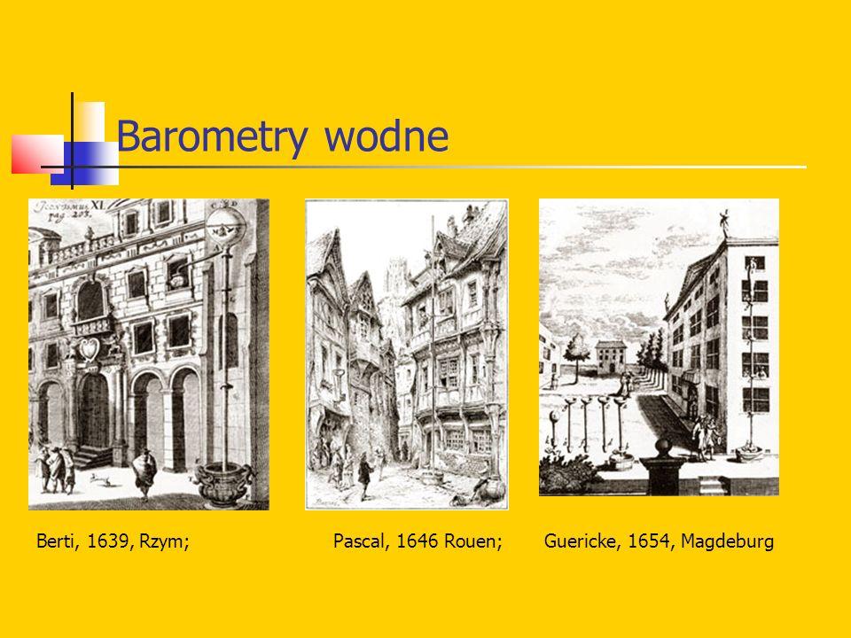Barometry wodne Berti, 1639, Rzym; Pascal, 1646 Rouen; Guericke, 1654, Magdeburg