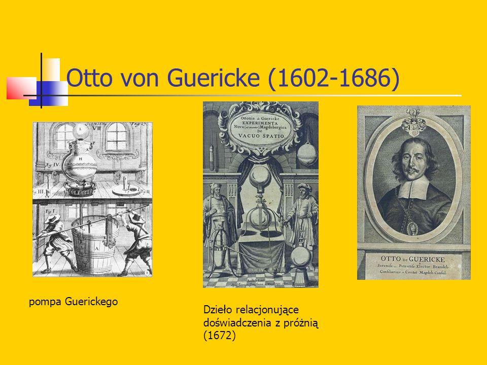 Otto von Guericke (1602-1686) pompa Guerickego Dzieło relacjonujące doświadczenia z próżnią (1672)