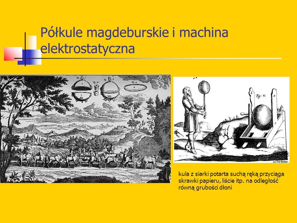 Półkule magdeburskie i machina elektrostatyczna kula z siarki potarta suchą ręką przyciąga skrawki papieru, liście itp.