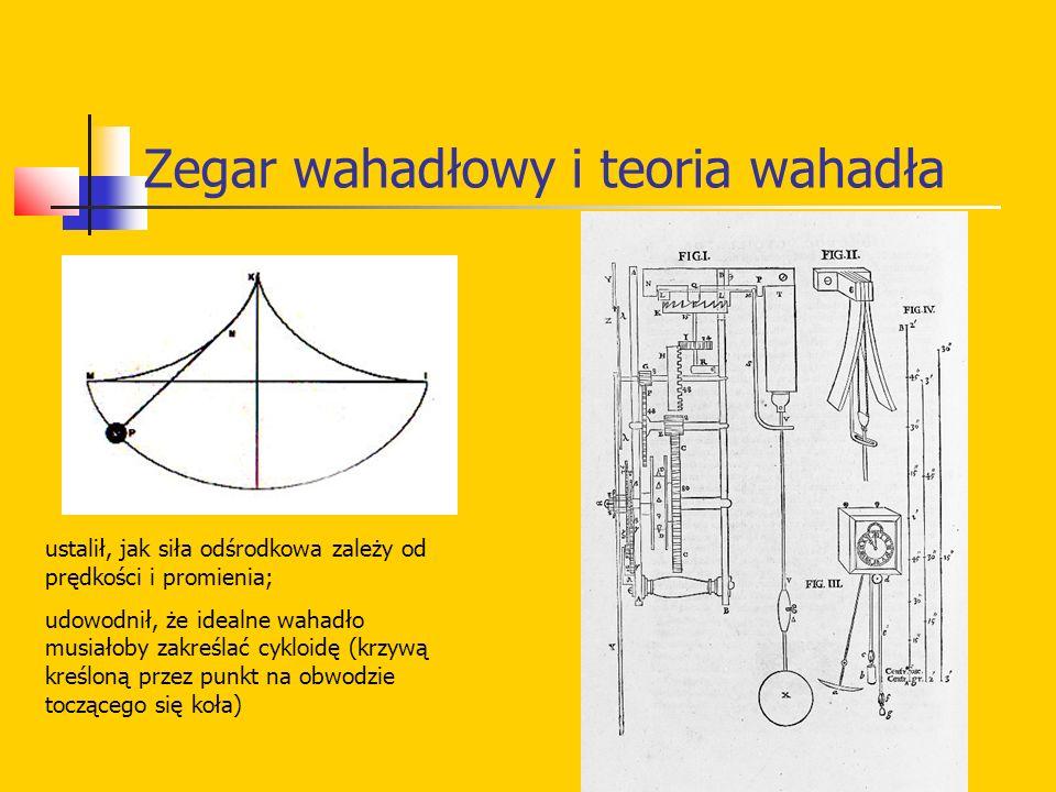 Zegar wahadłowy i teoria wahadła ustalił, jak siła odśrodkowa zależy od prędkości i promienia; udowodnił, że idealne wahadło musiałoby zakreślać cyklo