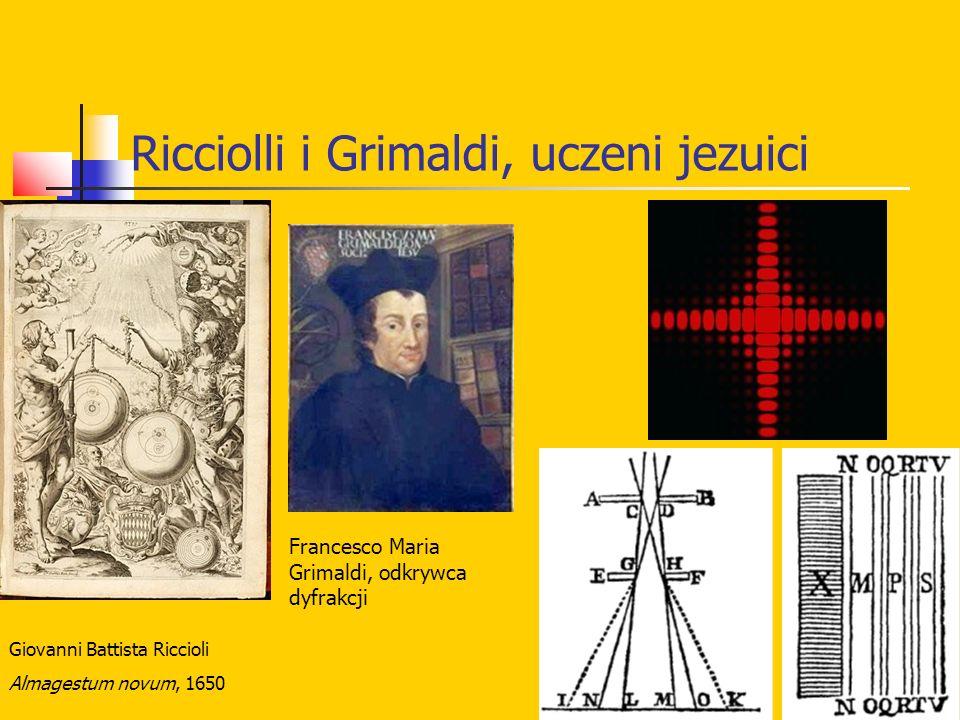 Ricciolli i Grimaldi, uczeni jezuici Giovanni Battista Riccioli Almagestum novum, 1650 Francesco Maria Grimaldi, odkrywca dyfrakcji