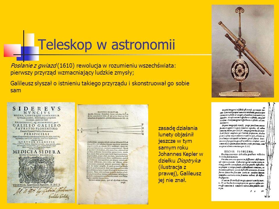 Teleskop w astronomii Posłanie z gwiazd (1610) rewolucja w rozumieniu wszechświata: pierwszy przyrząd wzmacniający ludzkie zmysły; Galileusz słyszał o istnieniu takiego przyrządu i skonstruował go sobie sam zasadę działania lunety objaśnił jeszcze w tym samym roku Johannes Kepler w dziełku Dioptryka (ilustracja z prawej), Galileusz jej nie znał.