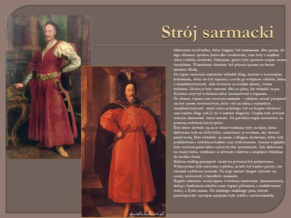 Mężczyzna nosił kaftan, który ściągany był rzemieniem albo pasem, do tego skórzane spodnie (luźne albo workowate), oraz buty z miękkiej skóry z krótką cholewką.