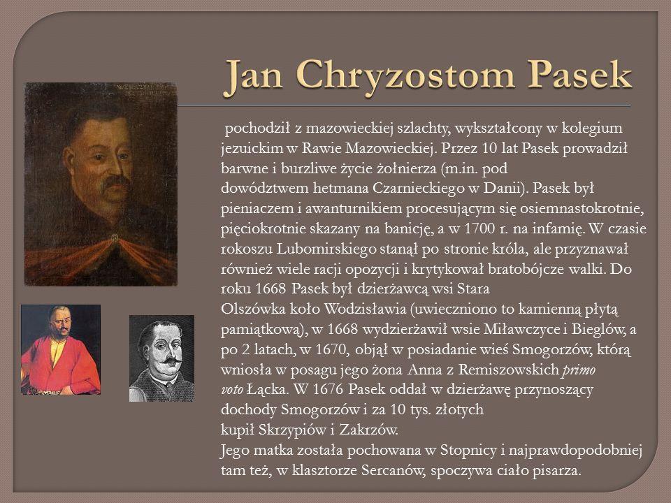 pochodził z mazowieckiej szlachty, wykształcony w kolegium jezuickim w Rawie Mazowieckiej.