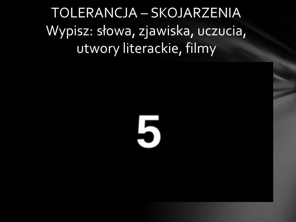 TOLERANCJA – SKOJARZENIA Wypisz: słowa, zjawiska, uczucia, utwory literackie, filmy