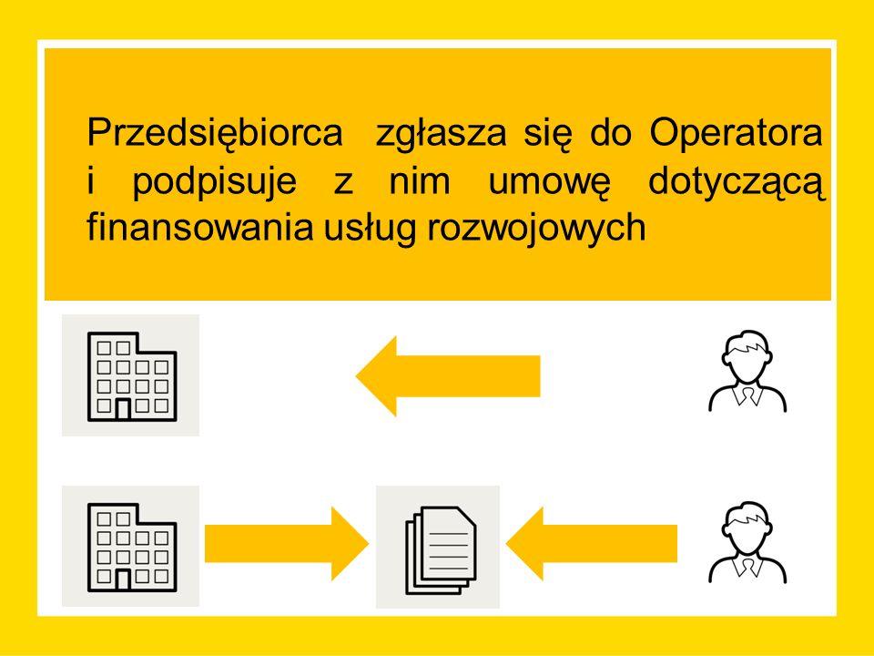 Przedsiębiorca zgłasza się do Operatora i podpisuje z nim umowę dotyczącą finansowania usług rozwojowych