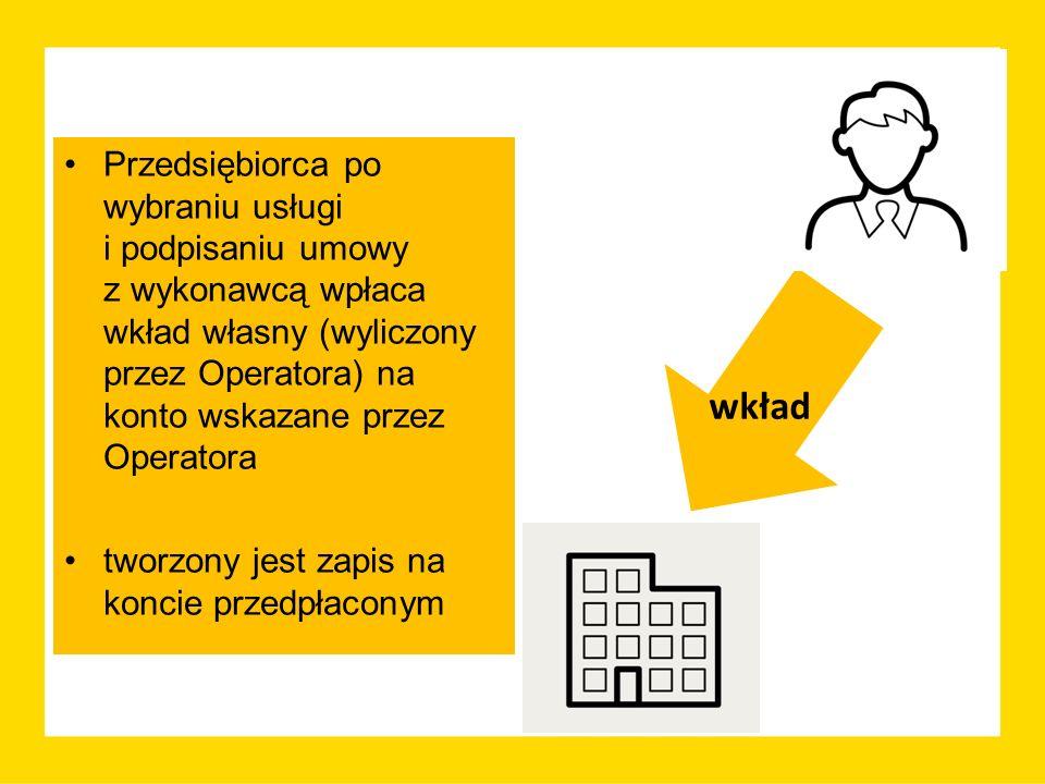 Przedsiębiorca po wybraniu usługi i podpisaniu umowy z wykonawcą wpłaca wkład własny (wyliczony przez Operatora) na konto wskazane przez Operatora tworzony jest zapis na koncie przedpłaconym wkład