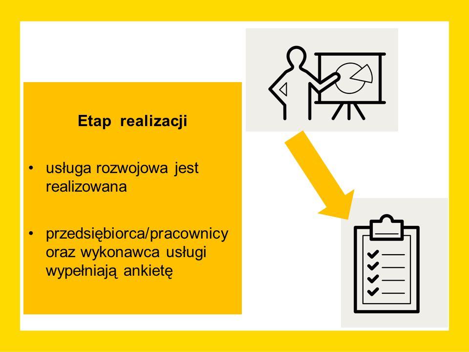 Etap realizacji usługa rozwojowa jest realizowana przedsiębiorca/pracownicy oraz wykonawca usługi wypełniają ankietę