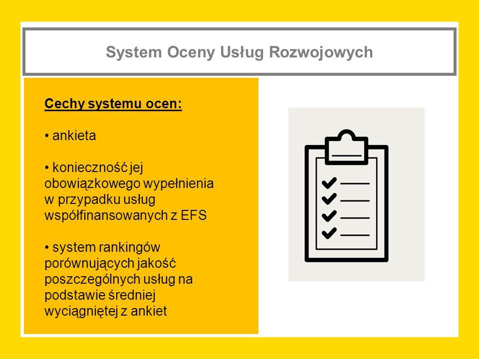 System Oceny Usług Rozwojowych Cechy systemu ocen: ankieta konieczność jej obowiązkowego wypełnienia w przypadku usług współfinansowanych z EFS system rankingów porównujących jakość poszczególnych usług na podstawie średniej wyciągniętej z ankiet