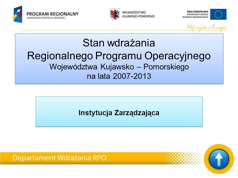 Stan wdrażania Regionalnego Programu Operacyjnego Województwa Kujawsko – Pomorskiego na lata 2007-2013 Instytucja Zarządzająca