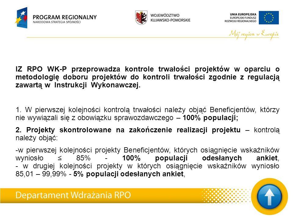 IZ RPO WK-P przeprowadza kontrole trwałości projektów w oparciu o metodologię doboru projektów do kontroli trwałości zgodnie z regulacją zawartą w Instrukcji Wykonawczej.