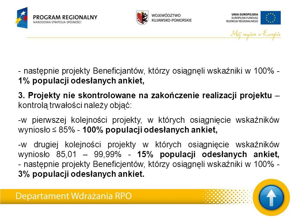 - następnie projekty Beneficjantów, którzy osiągnęli wskaźniki w 100% - 1% populacji odesłanych ankiet, 3.