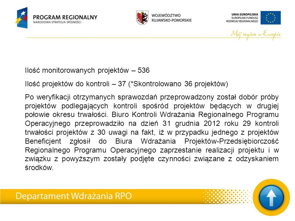 Ilość monitorowanych projektów – 536 Ilość projektów do kontroli – 37 (*Skontrolowano 36 projektów) Po weryfikacji otrzymanych sprawozdań przeprowadzony został dobór próby projektów podlegających kontroli spośród projektów będących w drugiej połowie okresu trwałości.