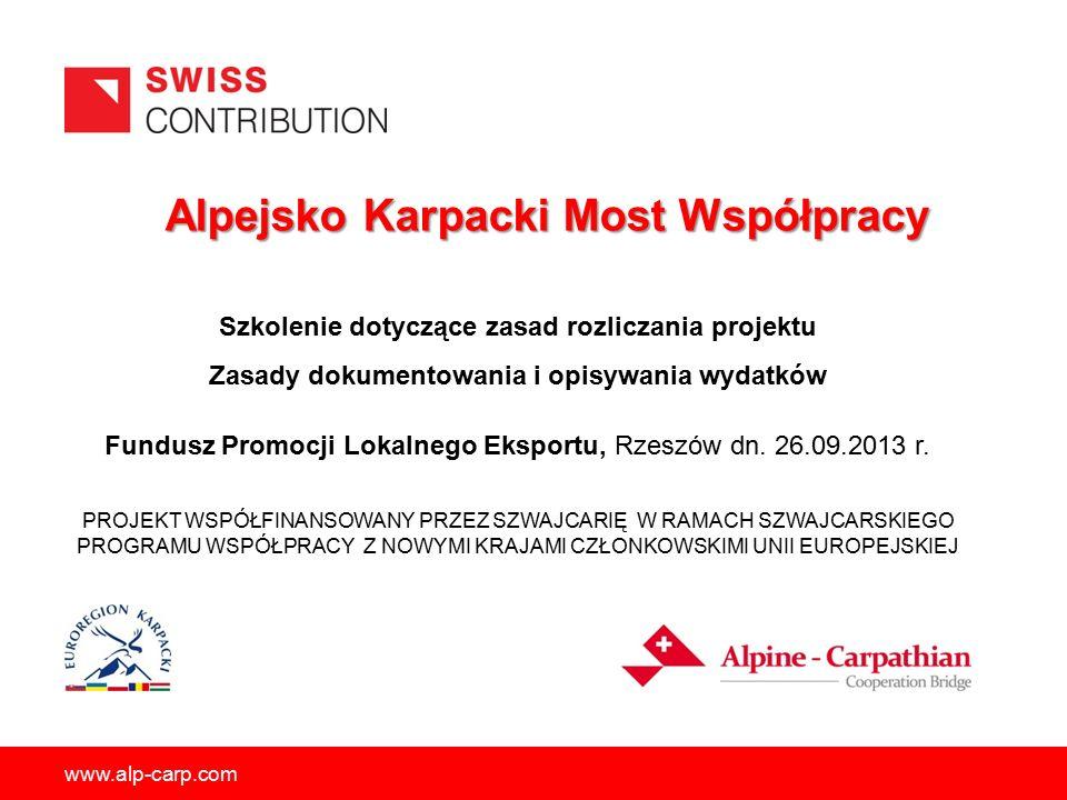 www.alp-carp.com 12 Szczegółowe zasady dokumentowania poszczególnych kategorii wydatków 5.