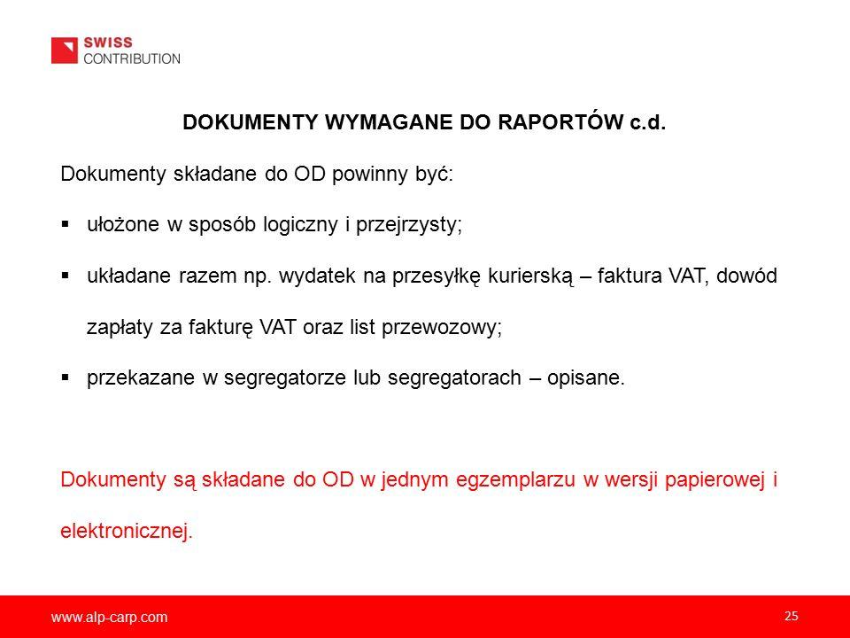 www.alp-carp.com 25 DOKUMENTY WYMAGANE DO RAPORTÓW c.d.